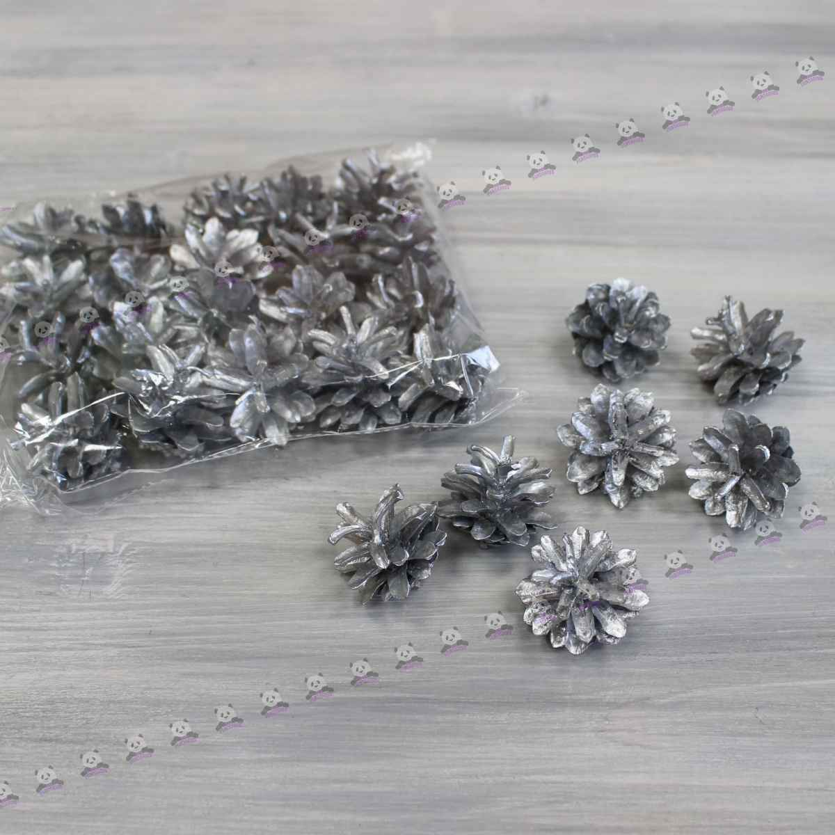 Шишки крашенные оптом серебро