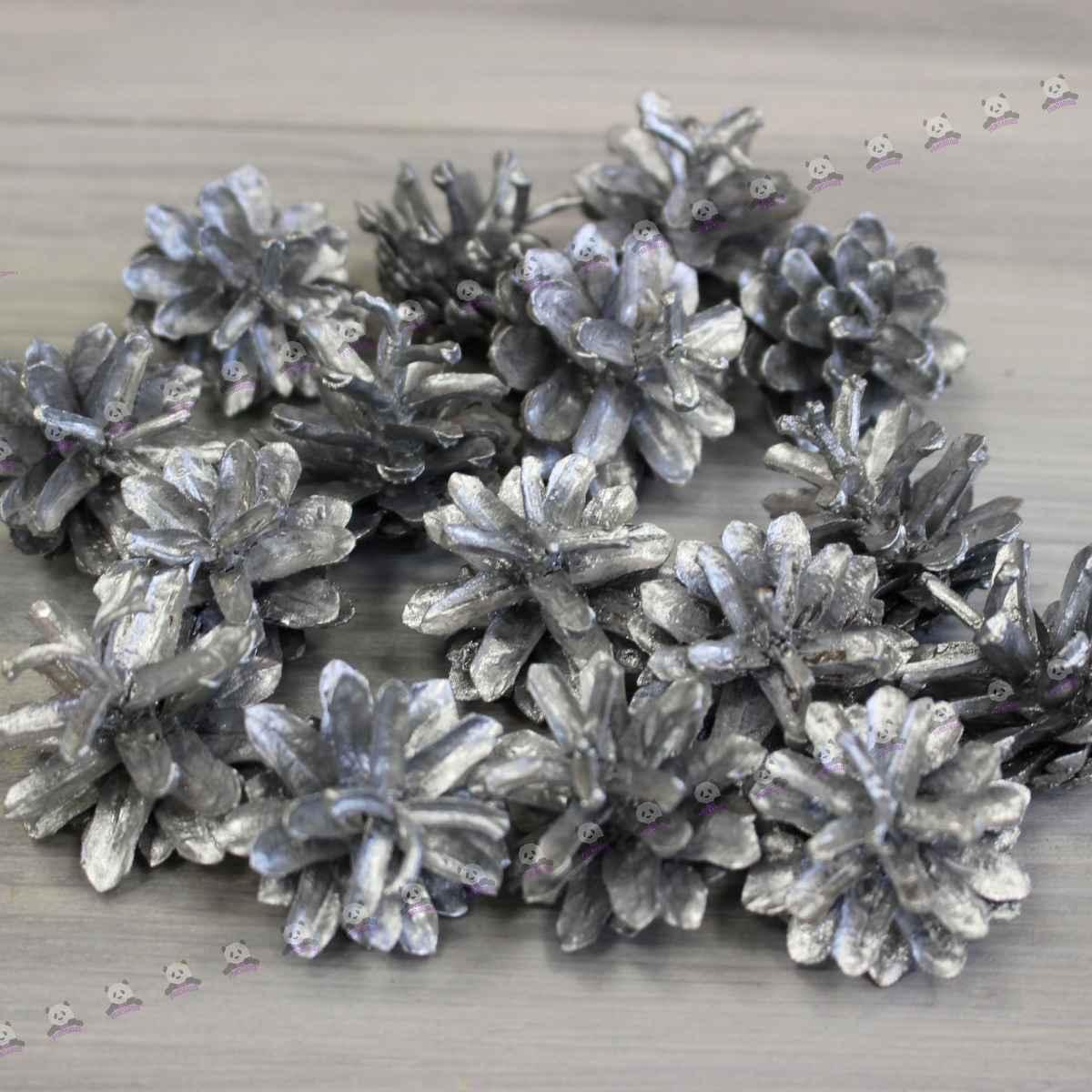 Сосновые шишки серебро